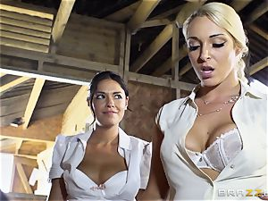 crazy lesbians Ava Dalush and Victoria Summer bang the sustained stud