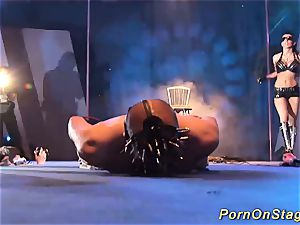 extraordinary fetish demonstrate on stage