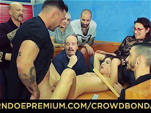CROWD restrain bondage - black-haired gimp female fetish public fuck-fest