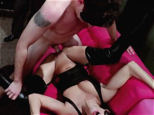 folks witness on as Britney Amber and Nikki Daniels group pound