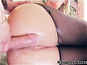huge-chested beauty smashed in ripped pantyhose