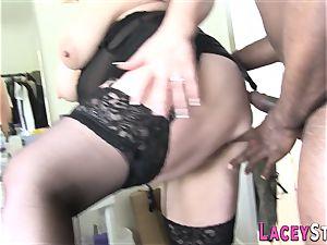 Lacey Starr pulverized rigid by a dark-hued man
