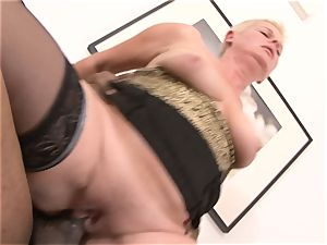 short hair grandmother takes rock-hard twat pulverizing by big black cock