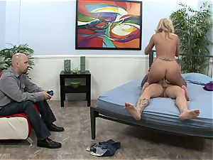 joy buttons gets a wedging in front of her hubby
