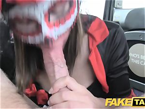 faux taxi woman in mask gets humped in the bum