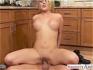 big-titted wifey Krissy Lynn licking jizm in the kitchen