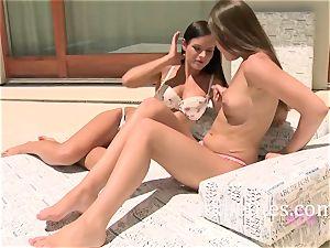 black-haired lezzies Kari and Ennie Have fun in the Sun