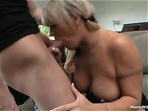 ample boob ash-blonde mommy torn up Beside Pool Table