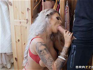sizzling platinum-blonde Brooklyn Blue banged rigid