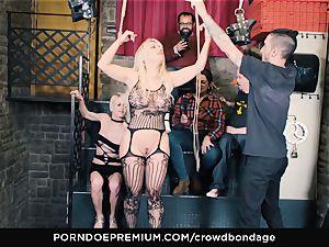 CROWD restrain bondage - submissive towheaded Fesser harsh bdsm romp
