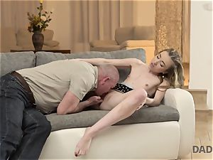 DADDY4K. intercourse of father and youthfull female finishes with unexpected creampie