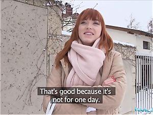 Public Agent German sandy-haired Anny Aurora enjoys lollipop