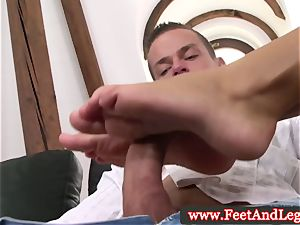 Victoria Blaze uses feet for footjob for fortunate boy